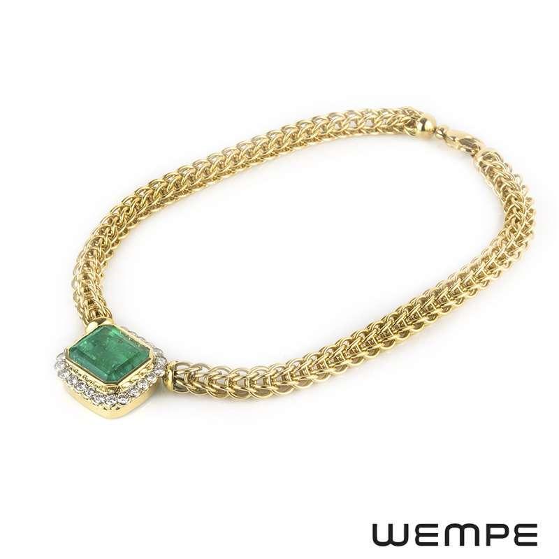 Wempe Yellow Gold Emerald and Diamond Necklace